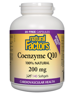 Coenzyme Q10 200 mg / 140 gélules (BONUS) / Natural Factors / Grande Ruche